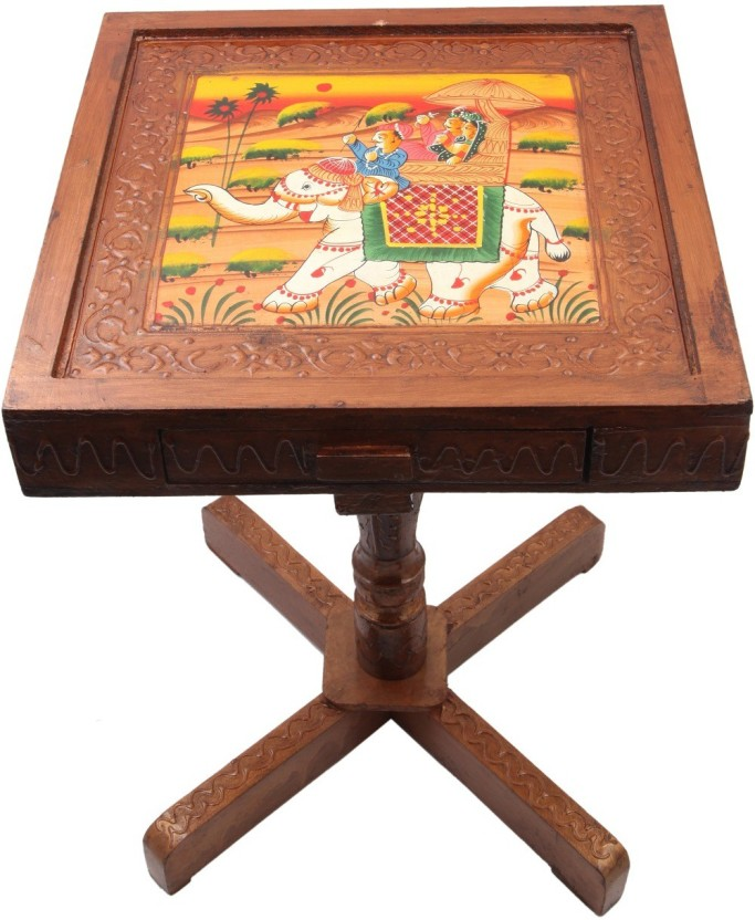JaipurCrafts Royal Rajasthan Rectangle With Storage Outdoor & Cafeteria Stool