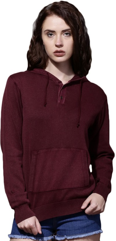 Roadster Solid Round Neck Casual Women Maroon Sweater