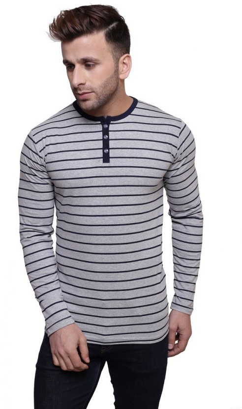 Leana Striped Men Henley Blue, Grey T-Shirt