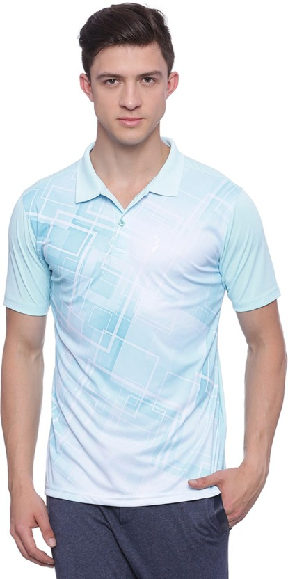 Campus Sutra Printed Men Polo Neck Light Blue, White T-Shirt