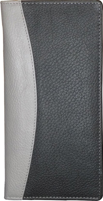 Kan Black And Grey Designer Genuine Leather Travel Document Holder/Organizer With 16 Card Slots For Men and Women