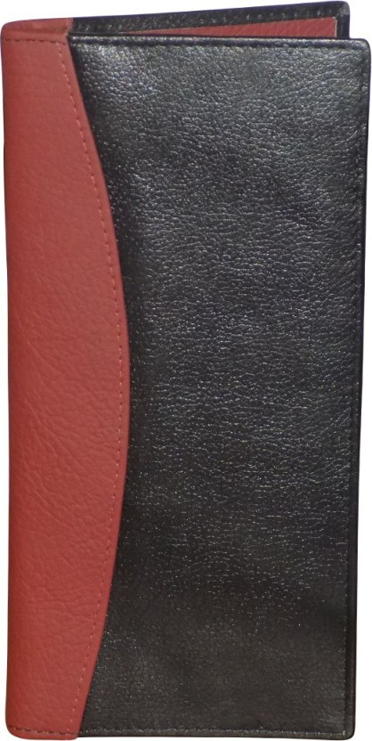 Kan Black And Red Designer Genuine Leather Travel Documt Holder/Organizer With 16 Card Slots For Men & Women