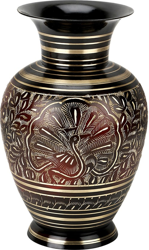 Being Nawab Peacock Engraved Red Gold Brass Vase
