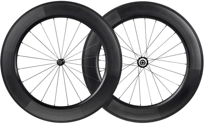 Monoprice 88mm Carbon Clincher Wheelset featuring Sapim CX-Ray Spokes 2 Wheeler Tyre