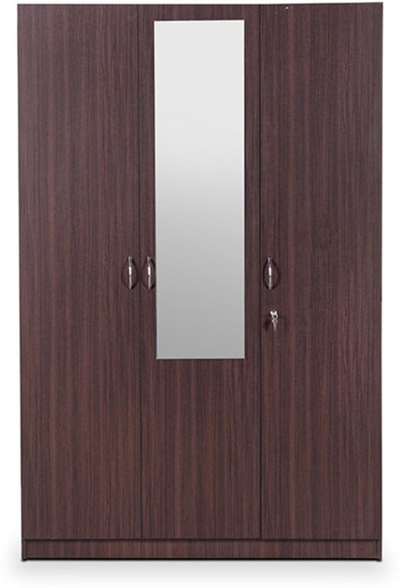 HomeTown Allen Engineered Wood 3 Door Almirah