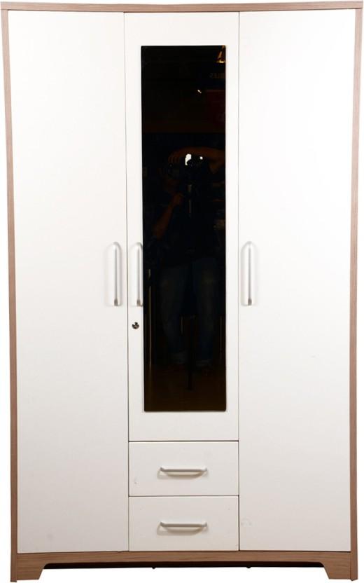 HomeTown Ambra Engineered Wood 3 Door Almirah