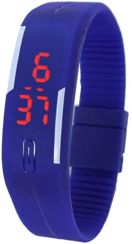 Bay Rubber Led Magnet Blue Watch  - For Men & Women