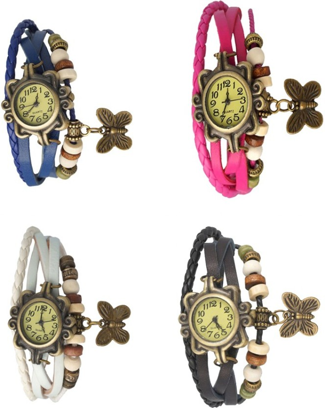 NS18 Vintage Butterfly Rakhi Combo of 4 Blue, White, Pink And Black Watch  - For Women