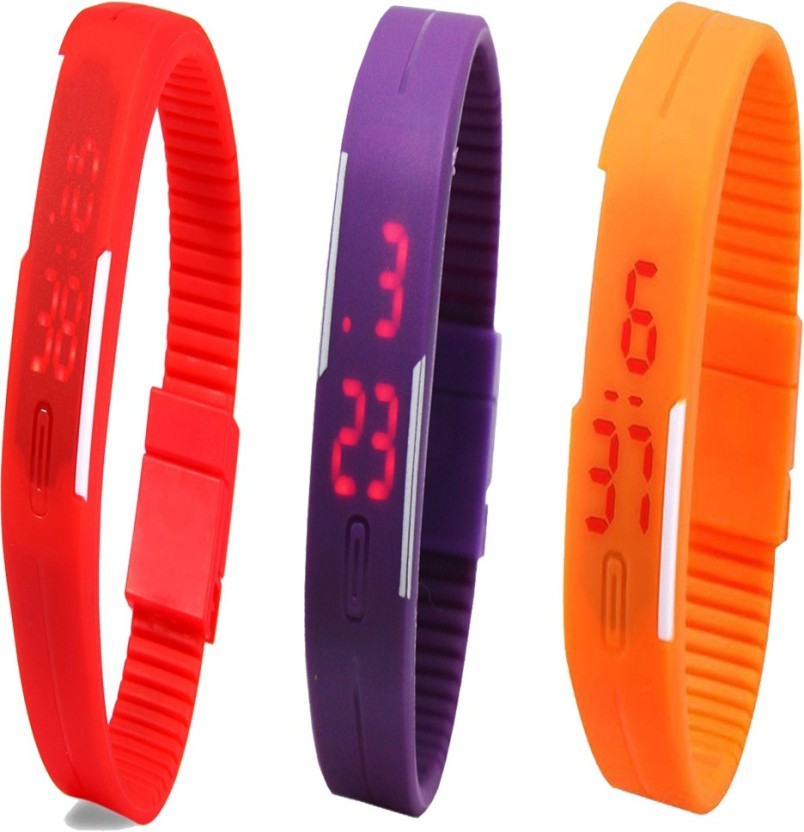 Y&D Combo of Led Band Red + Purple + Orange Watch  - For Couple