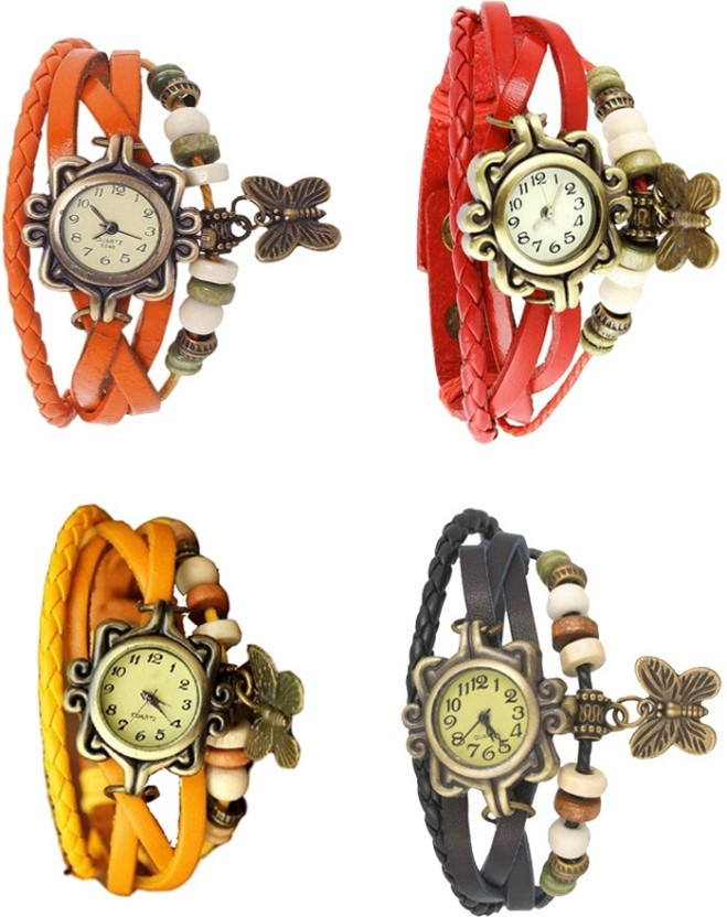 NS18 Vintage Butterfly Rakhi Combo of 4 Yellow, Orange, Red And Black Watch  - For Women