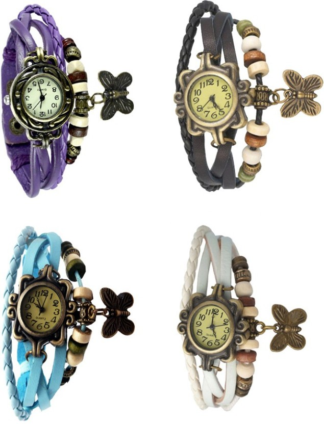 NS18 Vintage Butterfly Rakhi Combo of 4 Purple, Sky Blue, Black And White Watch  - For Women
