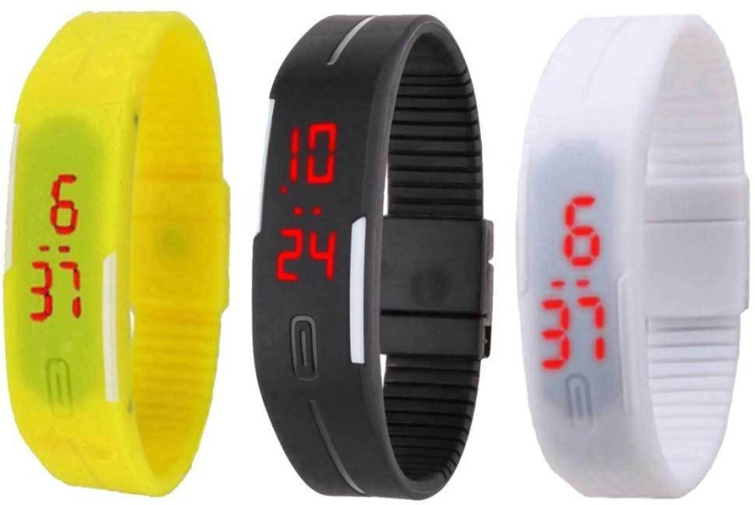 NS18 Silicone Led Magnet Band Combo of 3 Brown, Black And White Watch  - For Boys & Girls