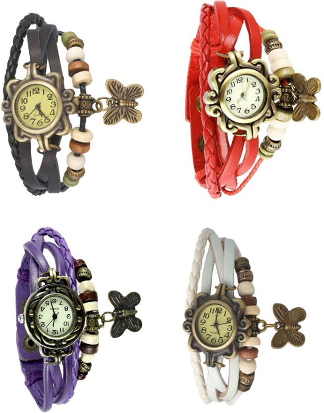 NS18 Vintage Butterfly Rakhi Combo of 4 Green, Purple, Black And White Watch  - For Women