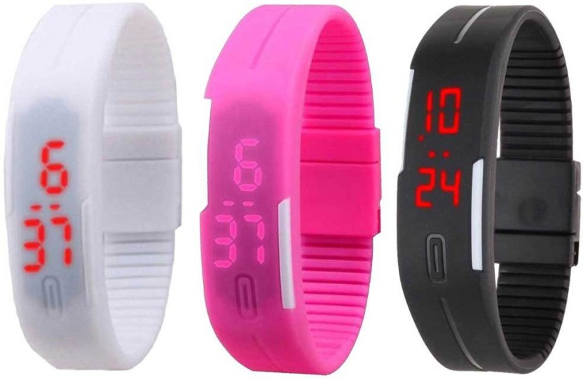 NS18 Silicone Led Magnet Band Combo of 3 White, Pink And Black Watch  - For Boys & Girls