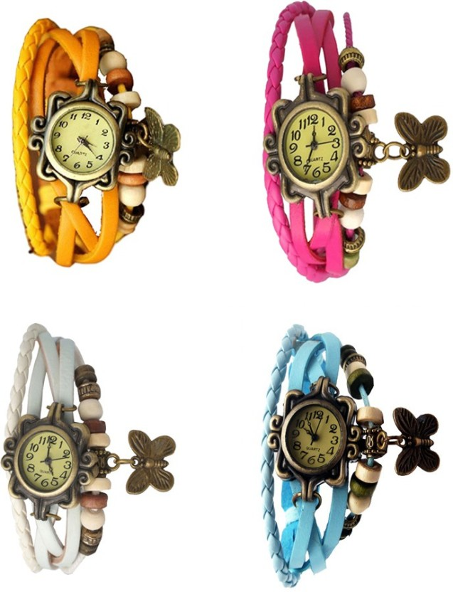 NS18 Vintage Butterfly Rakhi Combo of 4 Yellow, White, Pink And Sky Blue Watch  - For Women