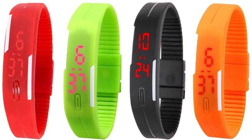 NS18 Silicone Led Magnet Band Combo of 4 Black, Red, Green And Orange Watch  - For Boys & Girls