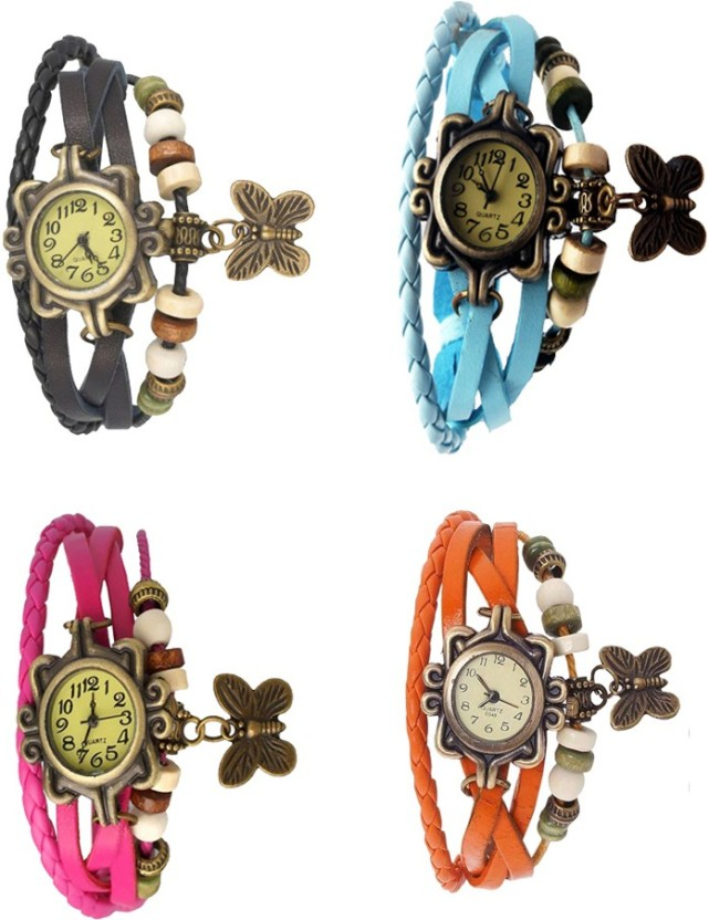 Kissu Vintage Rakhi Combo of 4 Black, Pink, Sky Blue And Orange Watch  - For Women