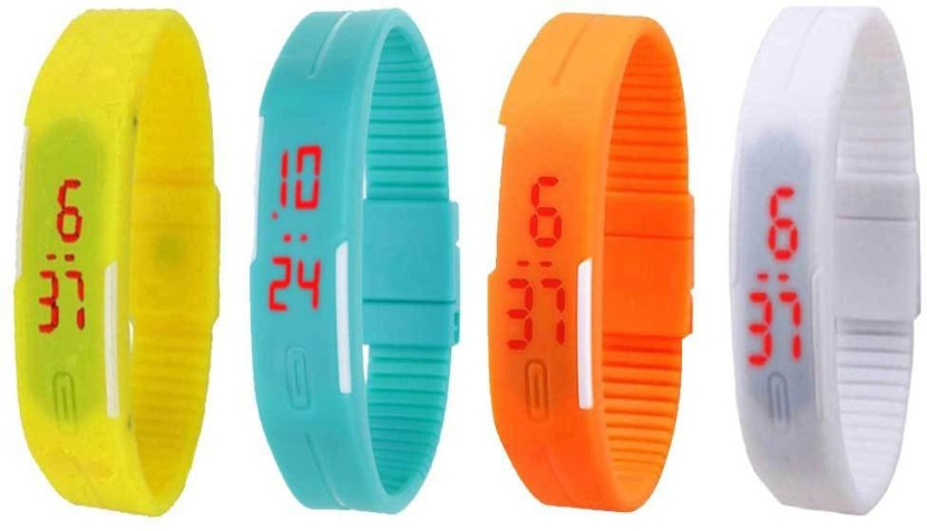 NS18 Silicone Led Magnet Band Combo of 4 Yellow, Sky Blue, Orange And White Watch  - For Boys & Girls