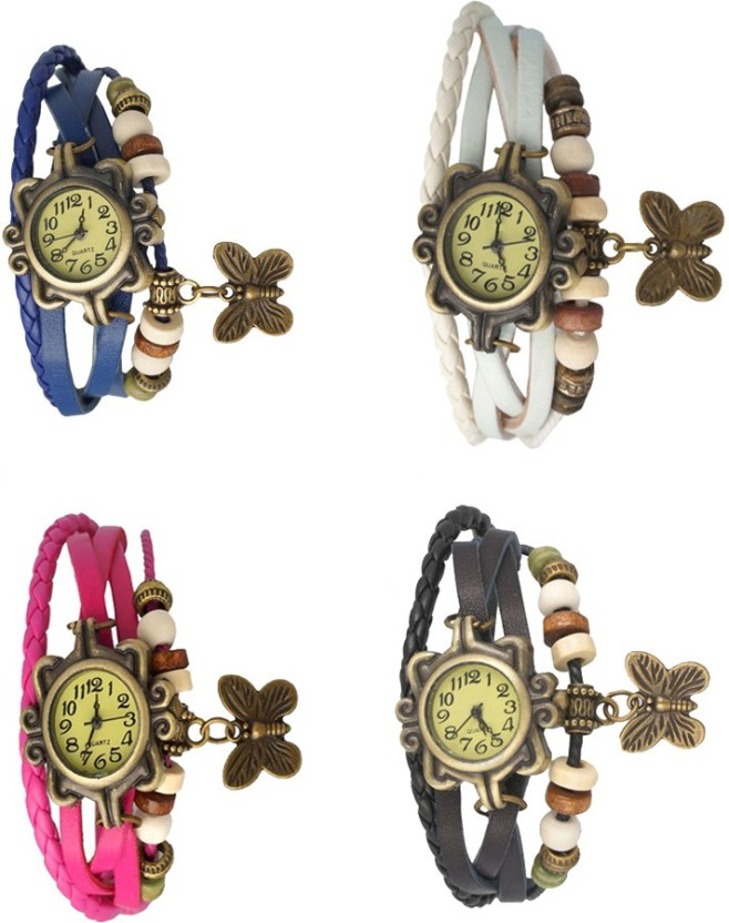 NS18 Vintage Butterfly Rakhi Combo of 4 Blue, Pink, White And Black Watch  - For Women