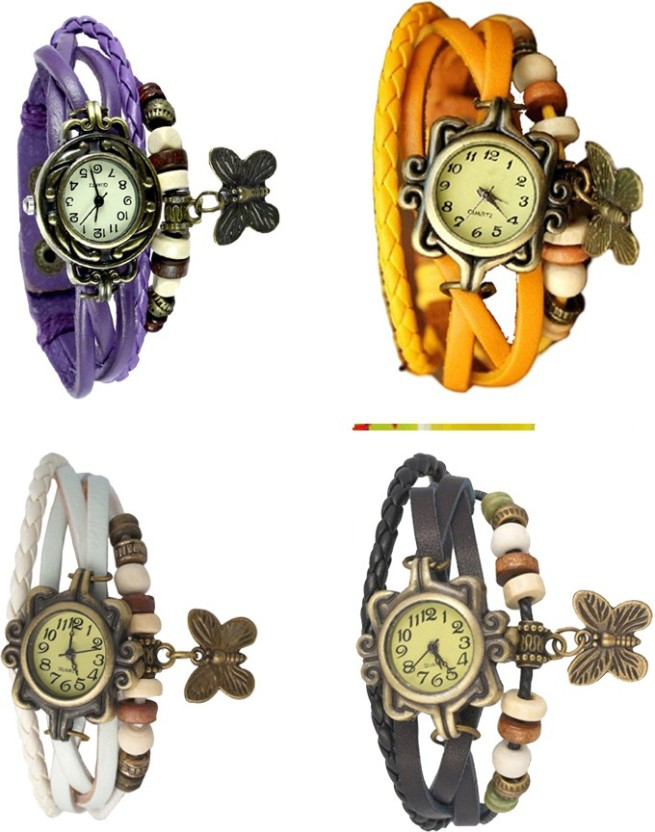 NS18 Vintage Butterfly Rakhi Combo of 4 Purple, White, Yellow And Black Watch  - For Women