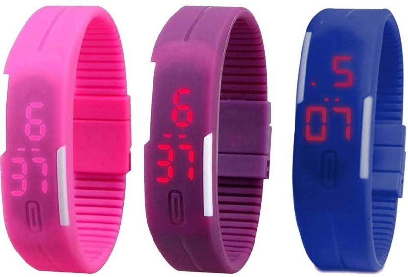 RSN Silicone Led Magnet Band Combo of 3 Pink, Purple And Blue Watch  - For Men & Women