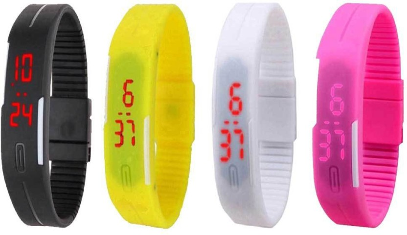 NS18 Silicone Led Magnet Band Watch Combo of 4 Pink, White, Black And Red Watch  - For Couple