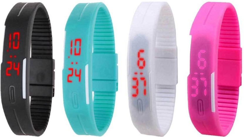 NS18 Silicone Led Magnet Band Watch Combo of 4 Pink, Blue, Black And White Watch  - For Couple