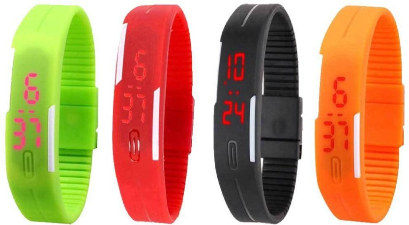 NS18 Silicone Led Magnet Band Combo of 4 Green, Red, Black And Orange Watch  - For Boys & Girls