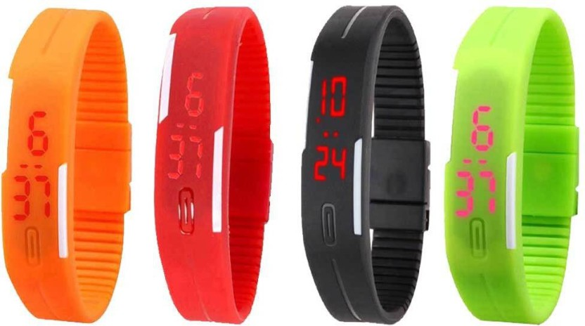 NS18 Silicone Led Magnet Band Combo of 4 Green, Red, Orange And Black Watch  - For Boys & Girls