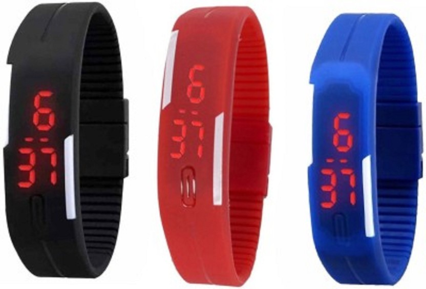 IIK Collection Rubber Magnet Led Set Of 3 Watch  - For Men & Women