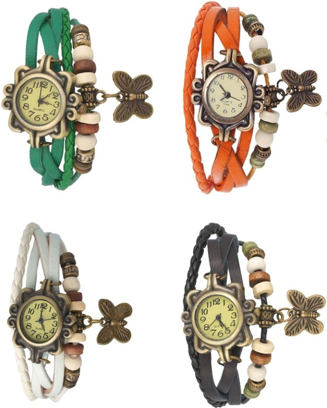 NS18 Vintage Butterfly Rakhi Combo of 4 White, Green, Orange And Black Watch  - For Women