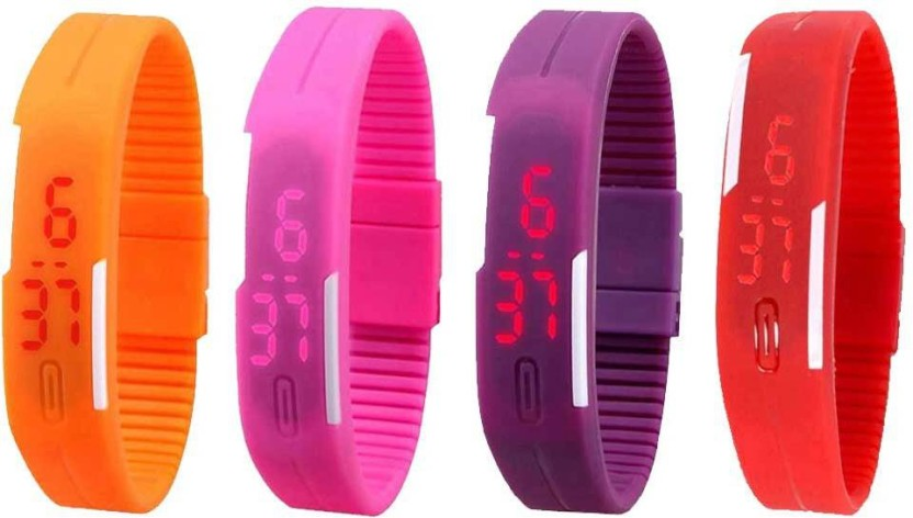 NS18 Silicone Led Magnet Band Watch Combo of 4 Orange, Pink, Purple And Red Watch  - For Couple