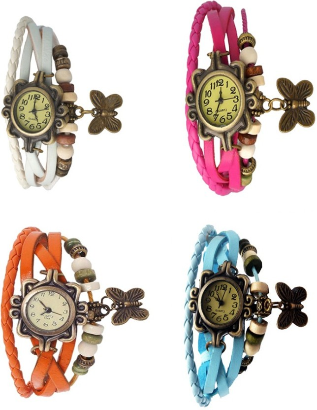 NS18 Vintage Butterfly Rakhi Combo of 4 White, Orange, Pink And Sky Blue Watch  - For Women