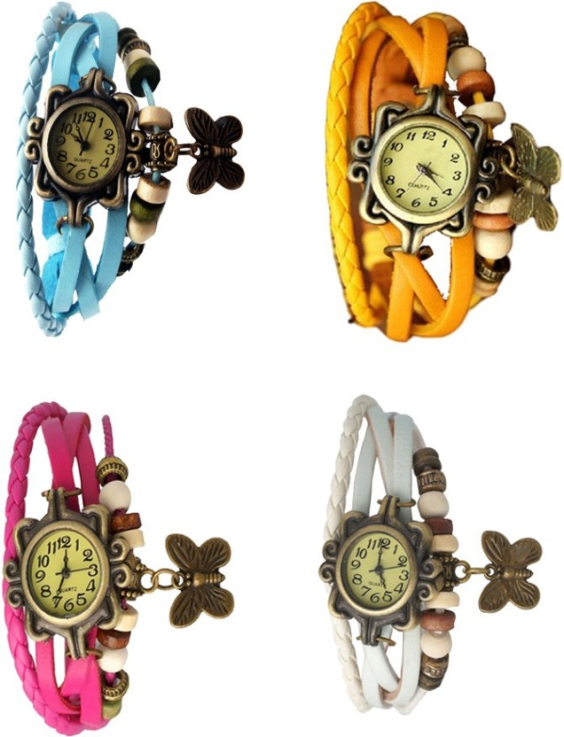 NS18 Vintage Butterfly Rakhi Combo of 4 Pink, Blue, White And Black Watch  - For Women