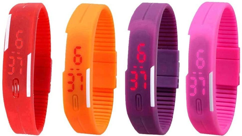 NS18 Silicone Led Magnet Band Watch Combo of 4 Red, Orange, Purple And Pink Watch  - For Couple