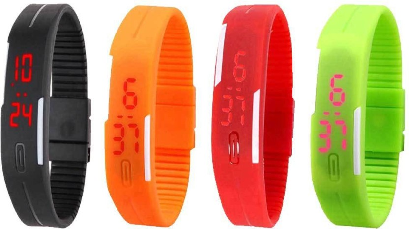 NS18 Silicone Led Magnet Band Combo of 4 Black, Orange, Red And Green Watch  - For Boys & Girls