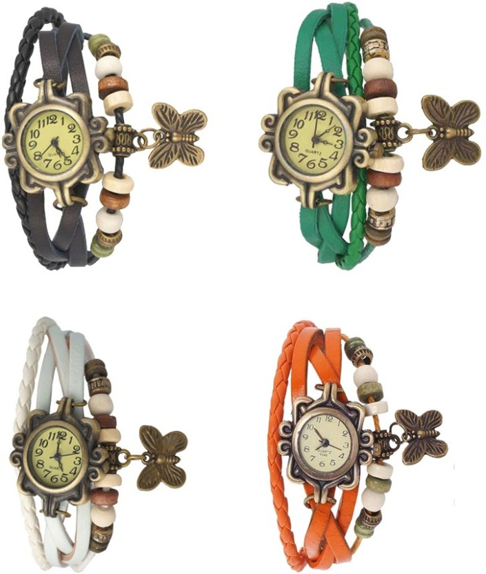 NS18 Vintage Butterfly Rakhi Combo of 4 Black, White, Green And Orange Watch  - For Women