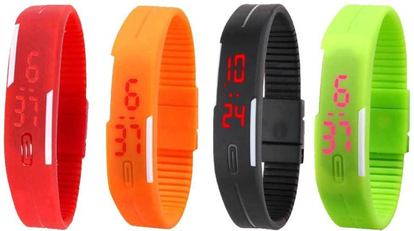 NS18 Silicone Led Magnet Band Combo of 4 Red, Orange, Black And Green Watch  - For Boys & Girls