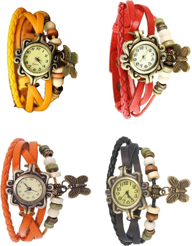 NS18 Vintage Butterfly Rakhi Combo of 4 Orange, Yellow, Red And Black Watch  - For Women