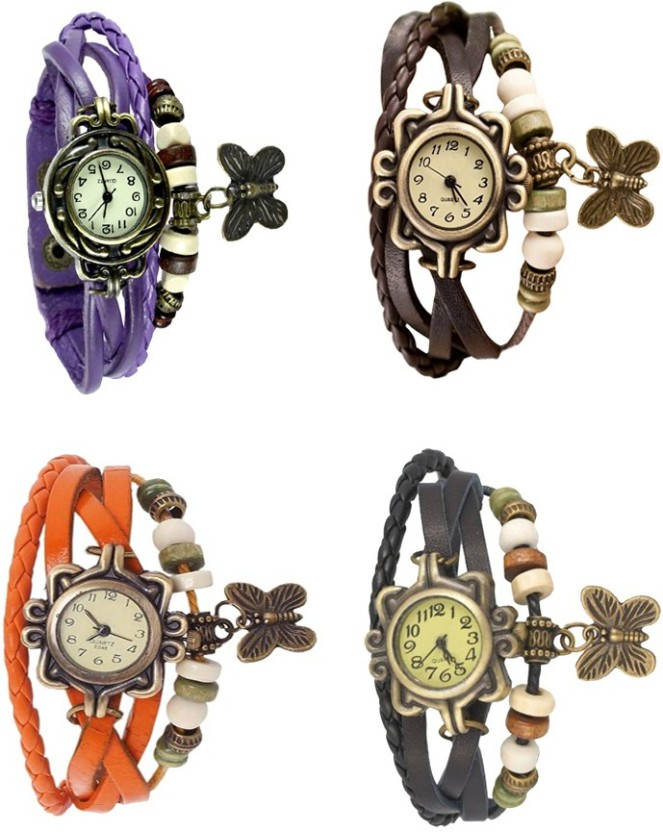 NS18 Vintage Butterfly Rakhi Combo of 4 Orange, Brown, Purple And Black Watch  - For Women