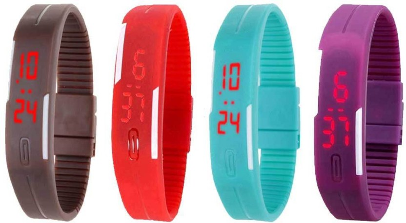Kissu Led Magnet Band Combo of 4 Brown, Red, Sky Blue And Purple Watch  - For Men & Women