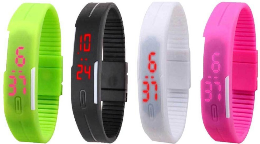 NS18 Silicone Led Magnet Band Watch Combo of 4 Green, Black, White And Pink Watch  - For Couple