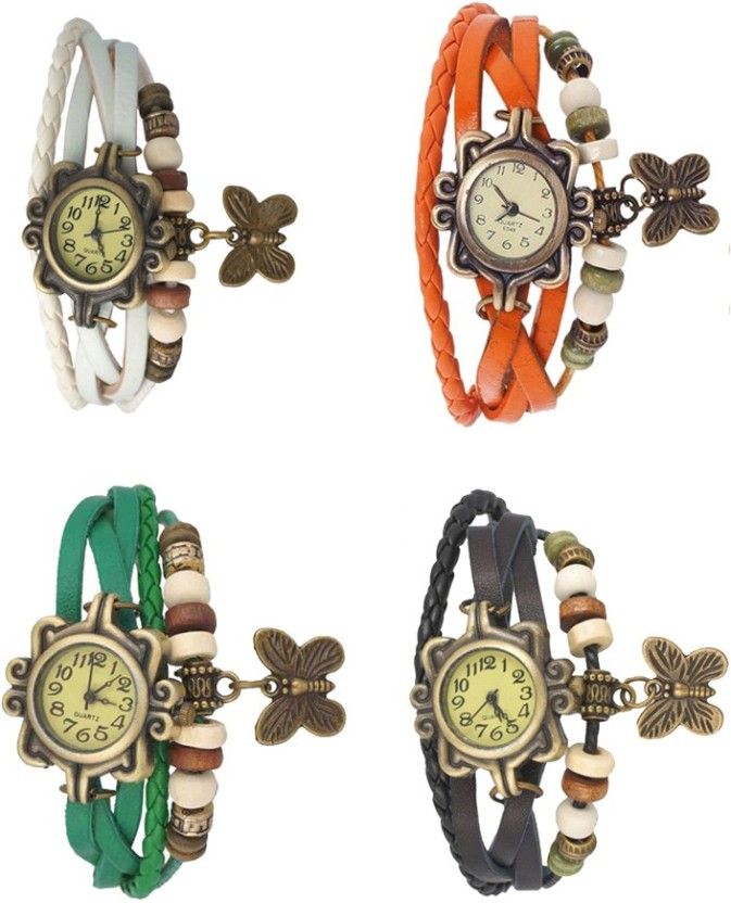 NS18 Vintage Butterfly Rakhi Combo of 4 Green, White, Orange And Black Watch  - For Women