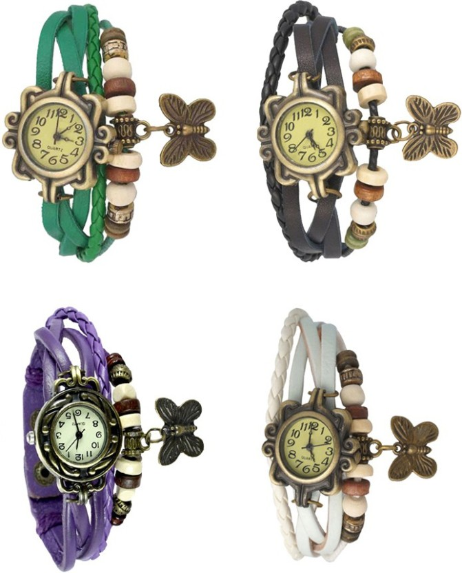 NS18 Vintage Butterfly Rakhi Combo of 4 Black, Purple, Red And White Watch  - For Women