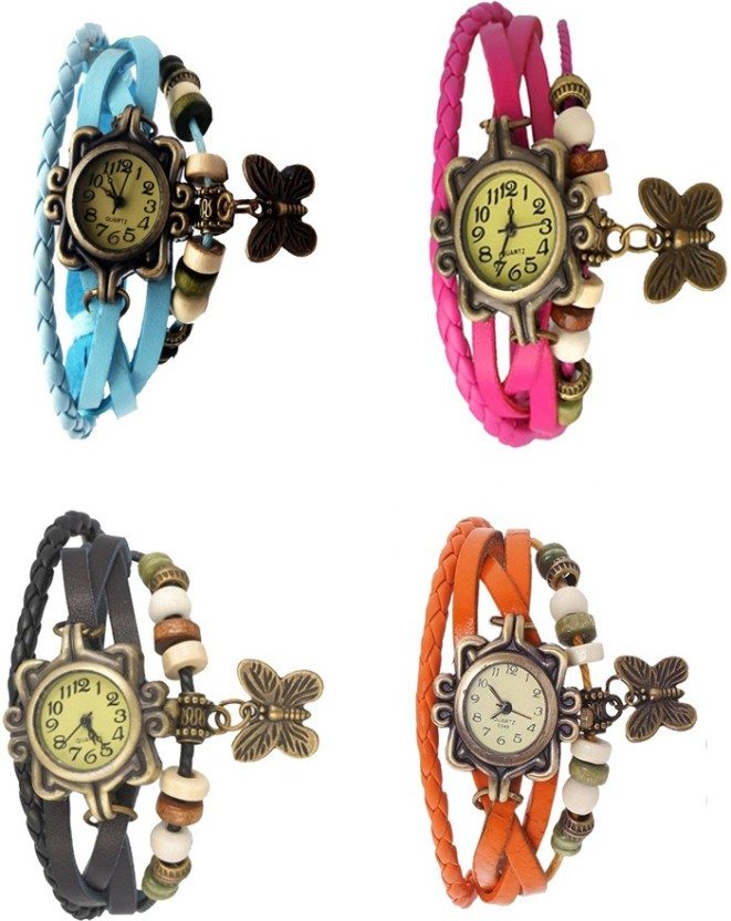 Kissu Vintage Rakhi Combo of 4 Black, Orange, Pink And Sky Blue Watch  - For Women