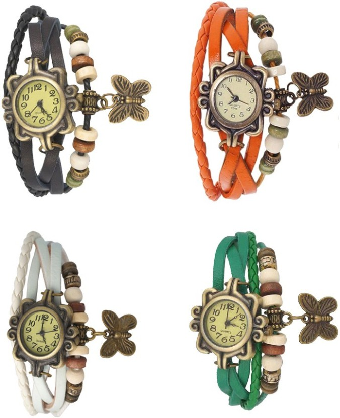 NS18 Vintage Butterfly Rakhi Combo of 4 Black, White, Orange And Green Watch  - For Women