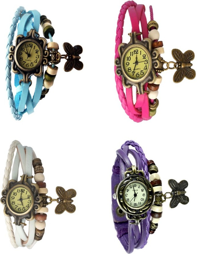 NS18 Vintage Butterfly Rakhi Combo of 4 White, Sky Blue, Purple And Pink Watch  - For Women