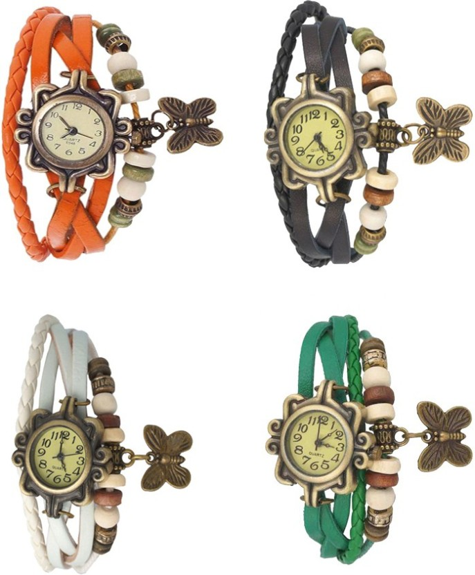 NS18 Vintage Butterfly Rakhi Combo of 4 White, Black, Green And Orange Watch  - For Women
