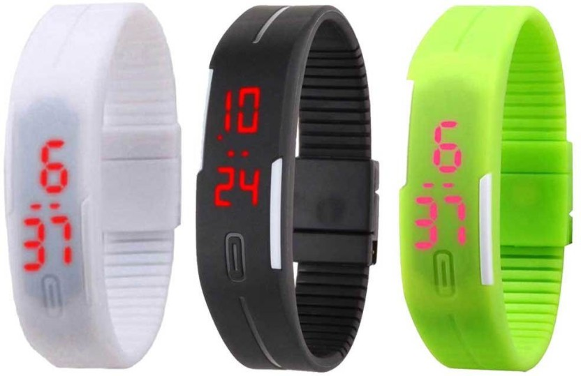 NS18 Silicone Led Magnet Band Combo of 3 Orange, Black And White Watch  - For Boys & Girls