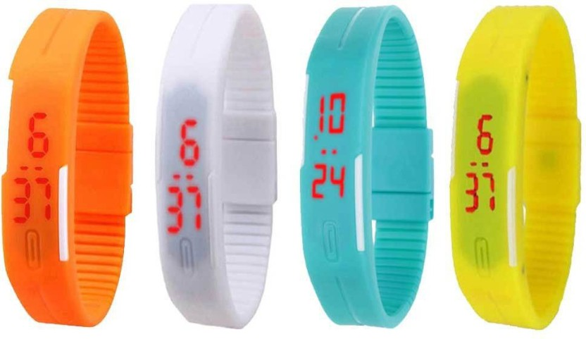 NS18 Silicone Led Magnet Band Combo of 4 Yellow, White, Sky Blue And Orange Watch  - For Boys & Girls